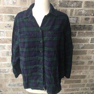 BDG Blue Green Plaid Flannel Shirt Pockets XS